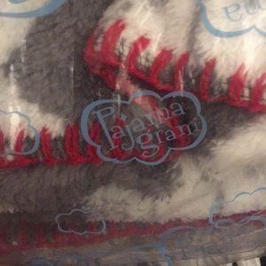 Pajamagram gray fair isle fleece blanket